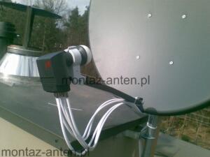 Antena satelitarna z konwerterem inverto quad dodatkowo sumującym sygnał z anteny naziemnej Warszawa Rembertów